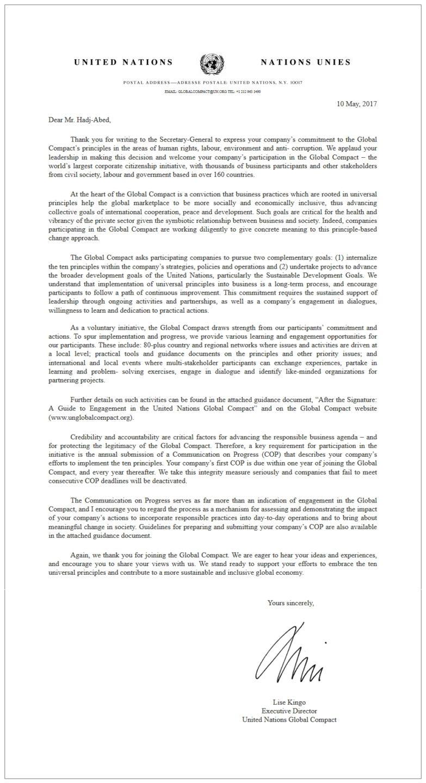 Adhésion aux principes Global Compact de l'ONU - Eaunergie